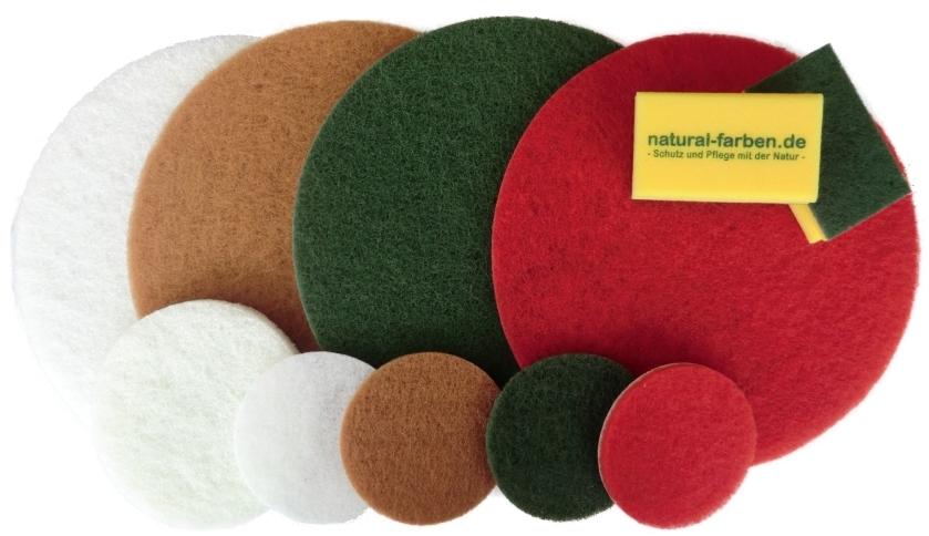 Polierpads Reinigungspads von Natural Naturfarben zur Behandlung von Oberflächen aus Holz, Kork und Stein